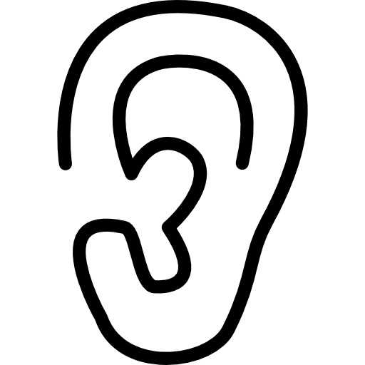 Ear lobe side view outline  free icon
