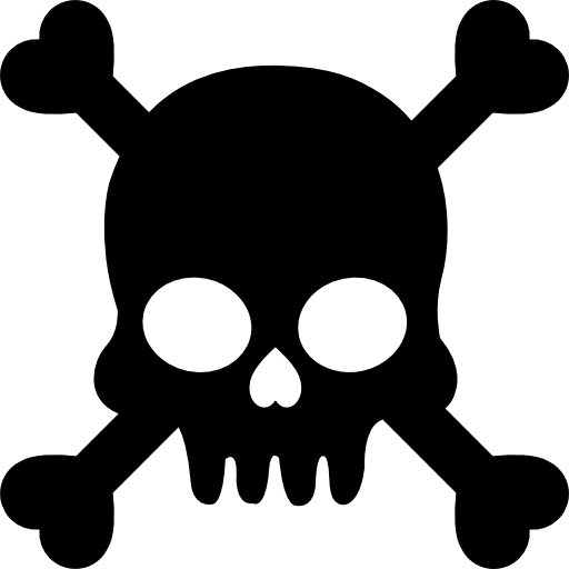Human skull with crossed bones silhouette  free icon