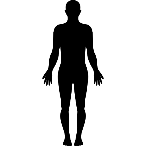 Standing human body silhouette  free icon