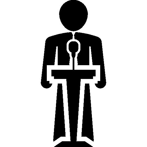 mensch spricht auf einem stand  kostenlos Icon
