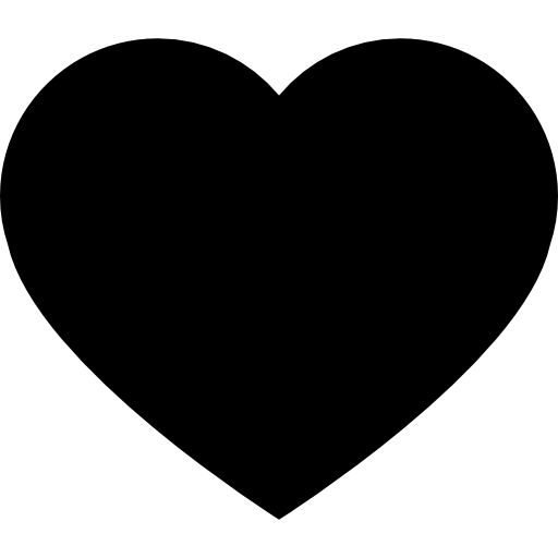 Heart black shape for valentines  free icon