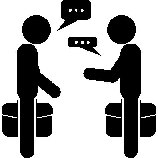 parler d'un couple d'hommes d'affaires debout avec des valises  Icône gratuit