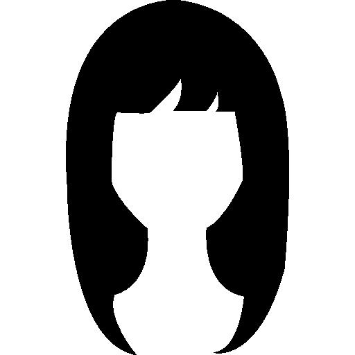 Woman dark long hair shape  free icon