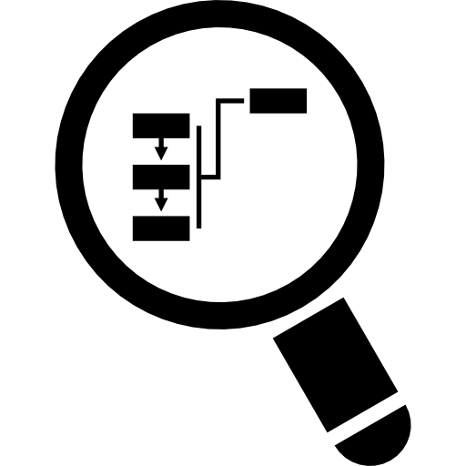 Magnifying glass focusing on flowchart  free icon