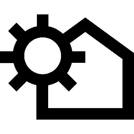 variante de contour de maison avec soleil  Icône gratuit