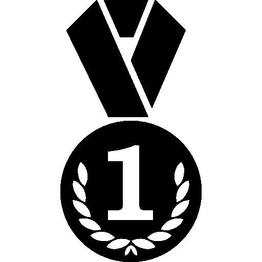 Круг медаль с венком и знаком номер 1  бесплатно иконка