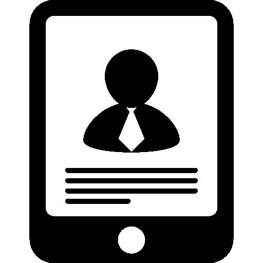 gadget de tablette avec profil  Icône gratuit
