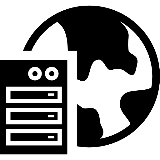 server with the earth  free icon