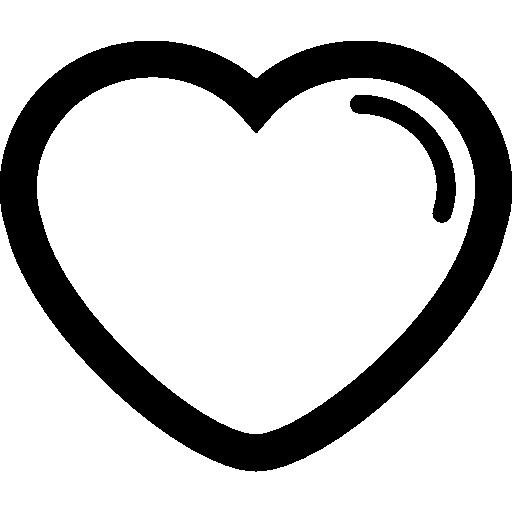 contorno en forma de corazón con forro en el borde derecho  icono gratis