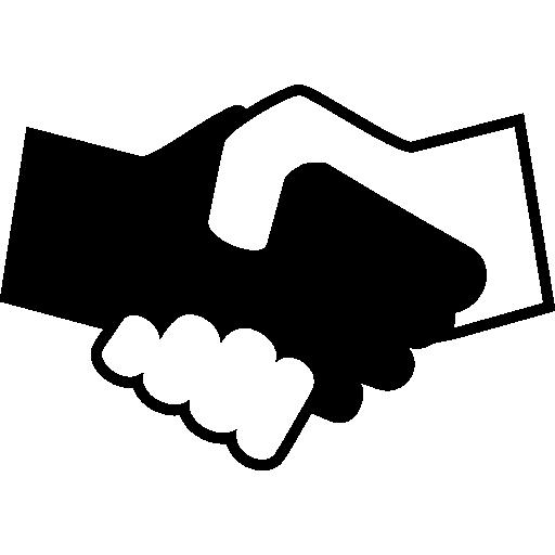 noir et blanc se serrant la main  Icône gratuit