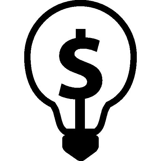 símbolo de dólar dentro de una bombilla  icono gratis