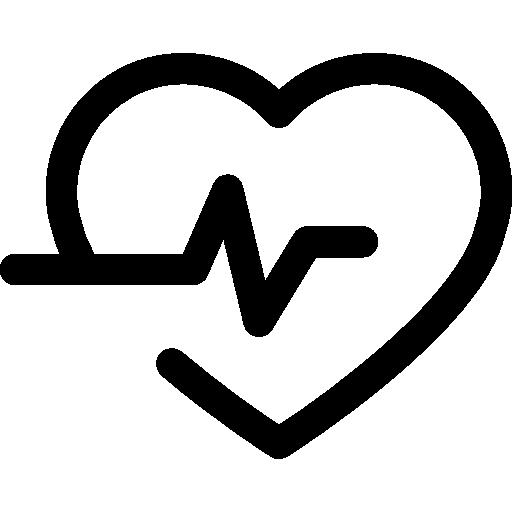 ligne de vie dans un contour de coeur  Icône gratuit