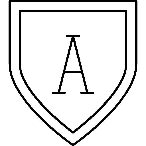forma de escudo com a letra a  grátis ícone