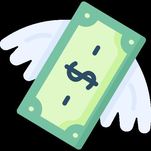 Flying money  free icon