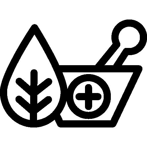 herbes naturelles et mortier pour la guérison  Icône gratuit