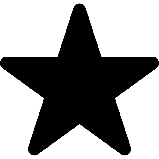 Star in black of five points shape  free icon
