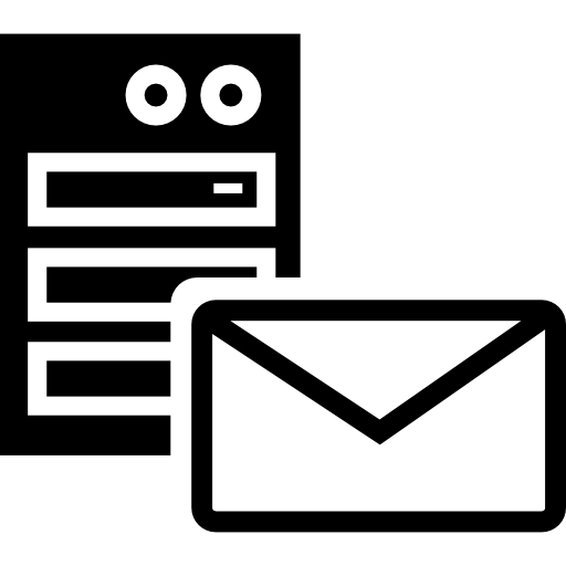 Server with email outline  free icon