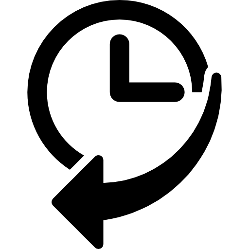 Navigation history interface symbol of a clock with an arrow  free icon