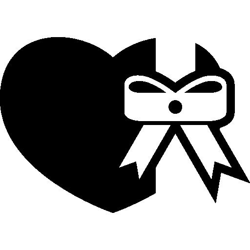 cadeau en forme de coeur avec noeud de ruban  Icône gratuit