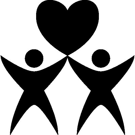 zwei menschen mit herz  kostenlos Icon