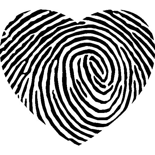 forme de coeur d'empreintes digitales  Icône gratuit