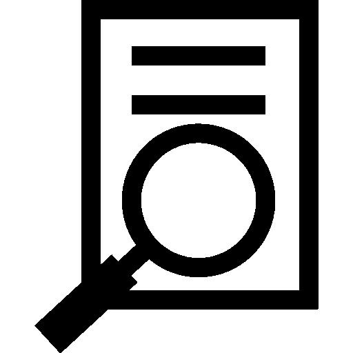 papier avec texte et loupe  Icône gratuit