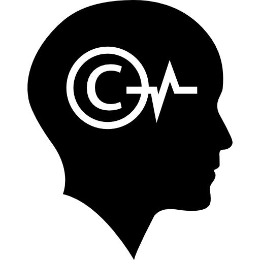Bald head with copyright symbol and lifeline inside  free icon