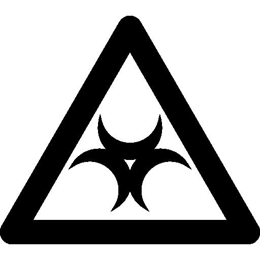 sinal de risco biológico dentro de um contorno de triângulo  grátis ícone