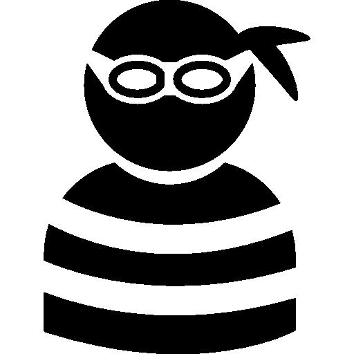 criminal vistiendo ocular y top rayado  icono gratis