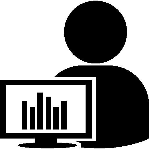 Пользователь с монитором компьютера и гистограммами  бесплатно иконка