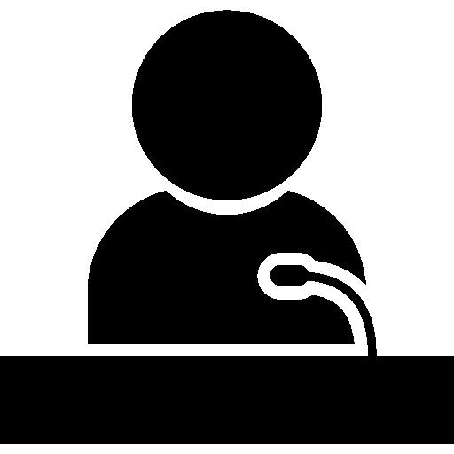 ponente dando una conferencia en un stand  icono gratis