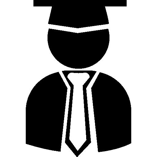 pós-graduando com formatura boné, toga e gravata  grátis ícone