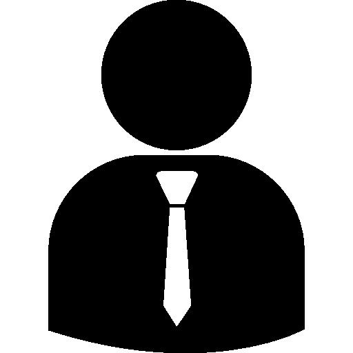 silueta de persona de negocios con corbata  icono gratis