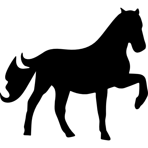 Horse raising one foot silhouette