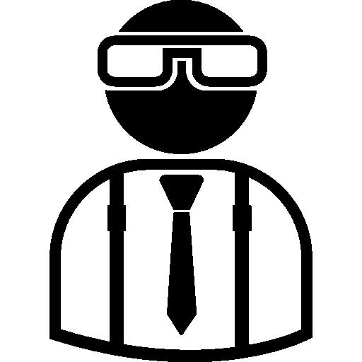 courtier portant des lunettes, un costume et une cravate  Icône gratuit