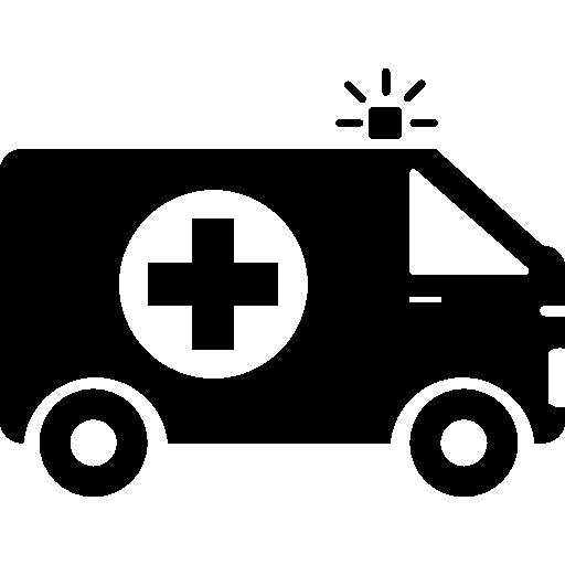 krankenwagen mit erste-hilfe-schild  kostenlos Icon