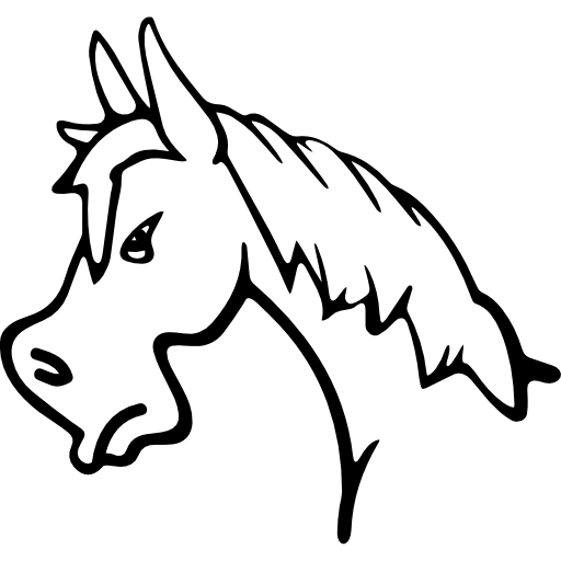 Angry horse face side view outline
