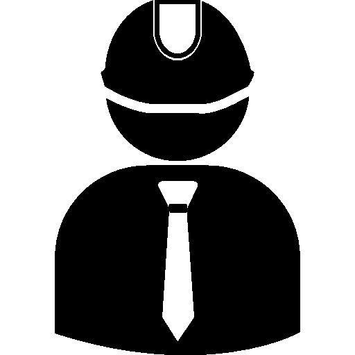 ingeniero con sombrero duro con traje y corbata  icono gratis