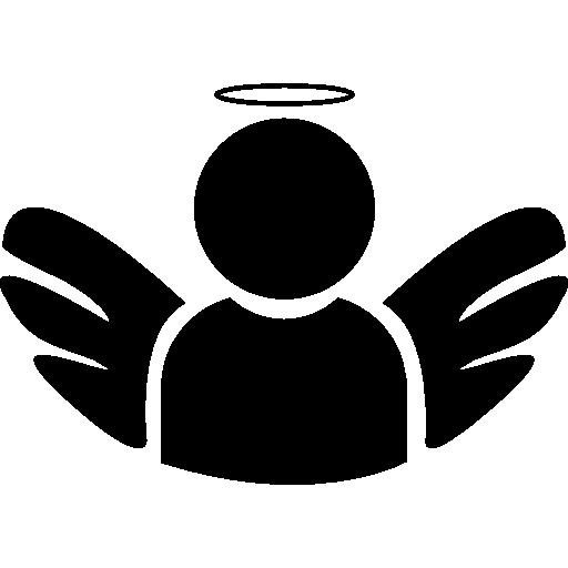 Ангел с крыльями и нимбом  бесплатно иконка