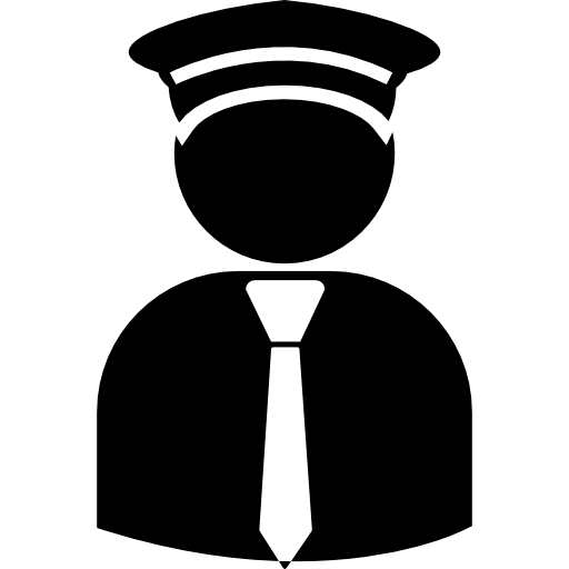 Pilot with hat and tie  free icon