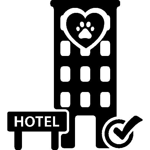 Здание гостиницы для домашних животных с проверочным знаком  бесплатно иконка