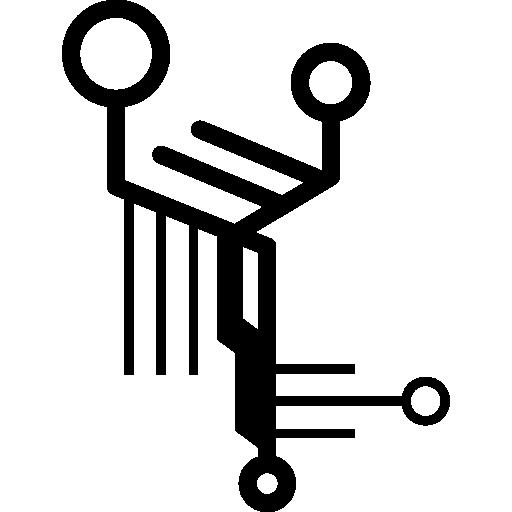circuit imprimé électronique avec lignes et cercles  Icône gratuit
