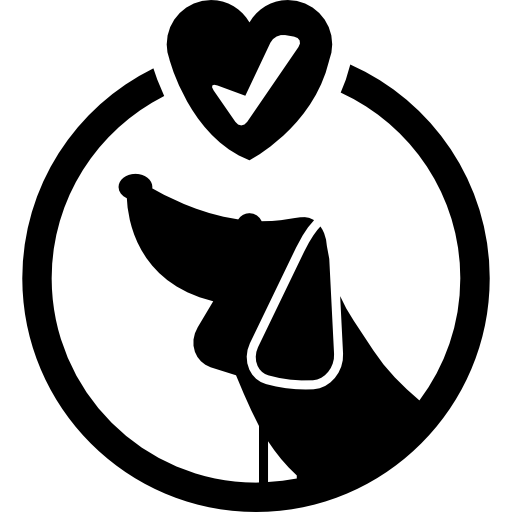 Круглый символ отеля домашних животных с собакой и знаком проверки внутри сердца  бесплатно иконка