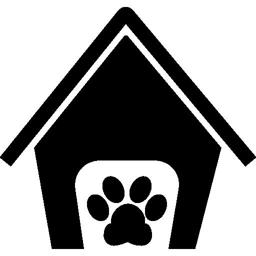 Домашние животные гостиничный дом знак с лапой  бесплатно иконка