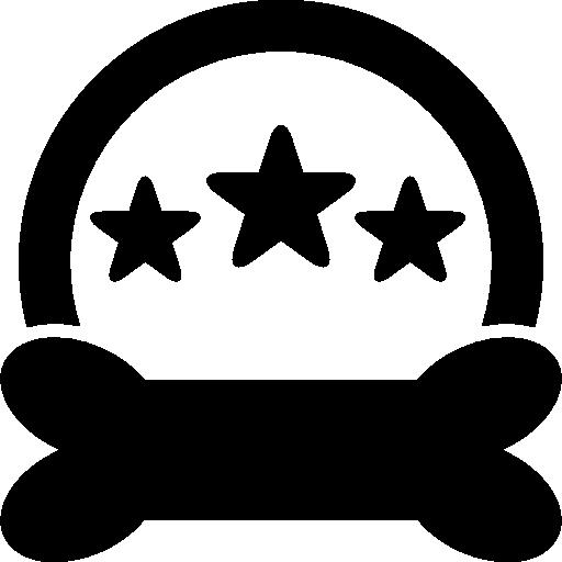Символы отеля для домашних животных в виде трех звезд, полукруга и кости черной формы  бесплатно иконка