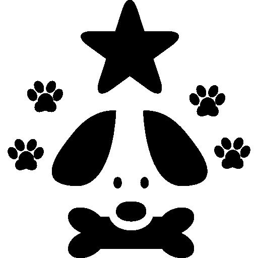 Знак отеля для домашних животных собаки со звездой и отпечатками лап  бесплатно иконка