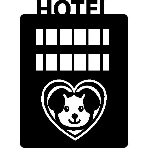 Здание гостиницы для домашних животных с изображением собаки в форме сердца  бесплатно иконка