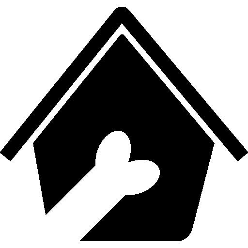 Знак отеля для домашних животных кости в собачьей будке  бесплатно иконка