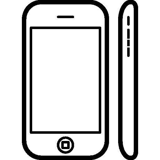 handy beliebtes modell apple iphone 3 auf seiten- und vorderansicht  kostenlos Icon
