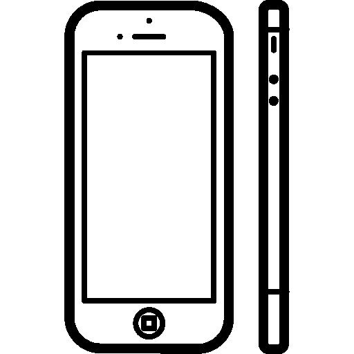 iphone 5 vu de face et de côté  Icône gratuit